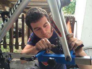 Jonny - our Master Mechanic - replacing my brake pads.
