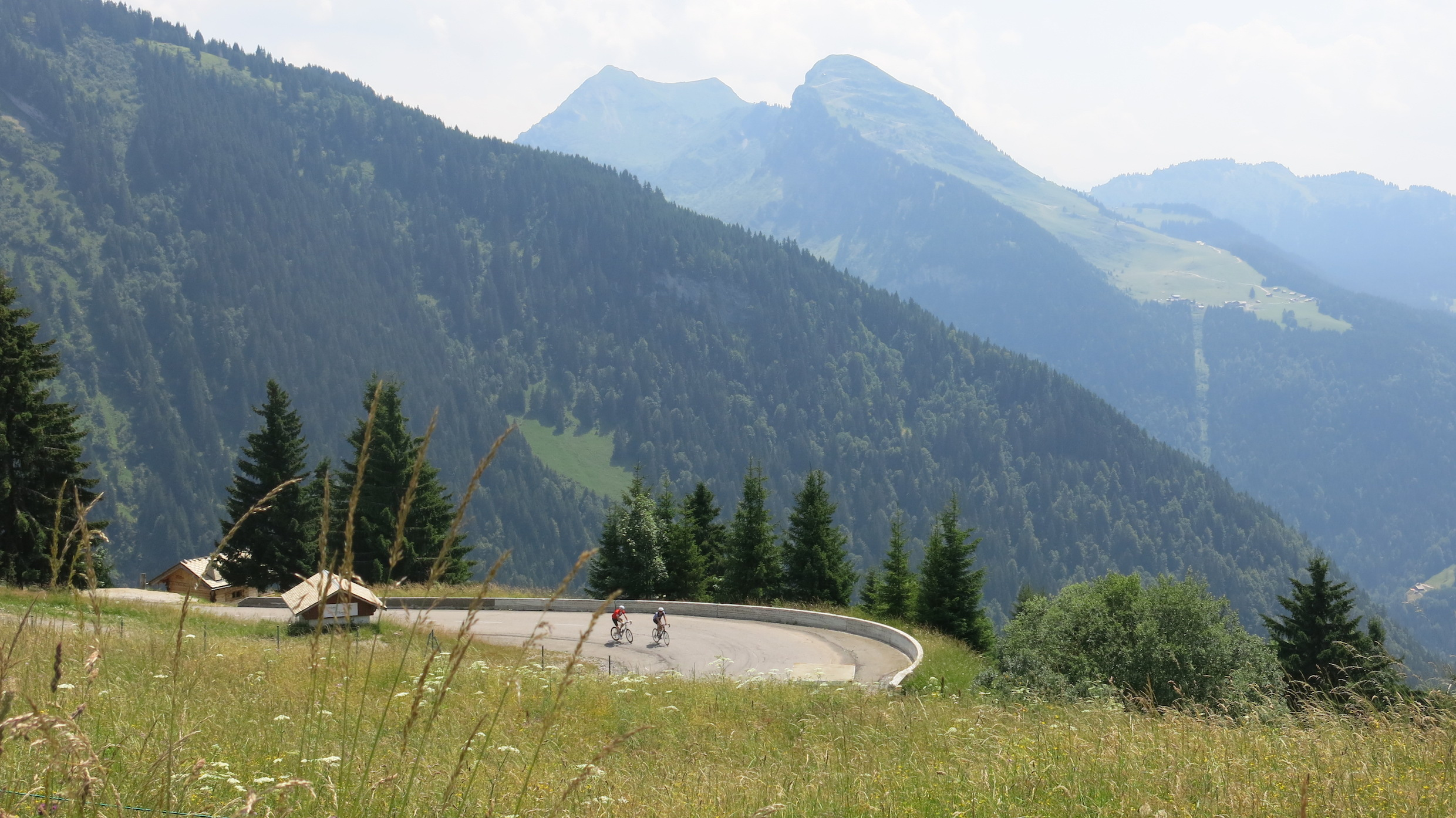 Morzine-Avoriaz: James and SGL climbing through the afternoon heat. Photo by Jimi Thomson.
