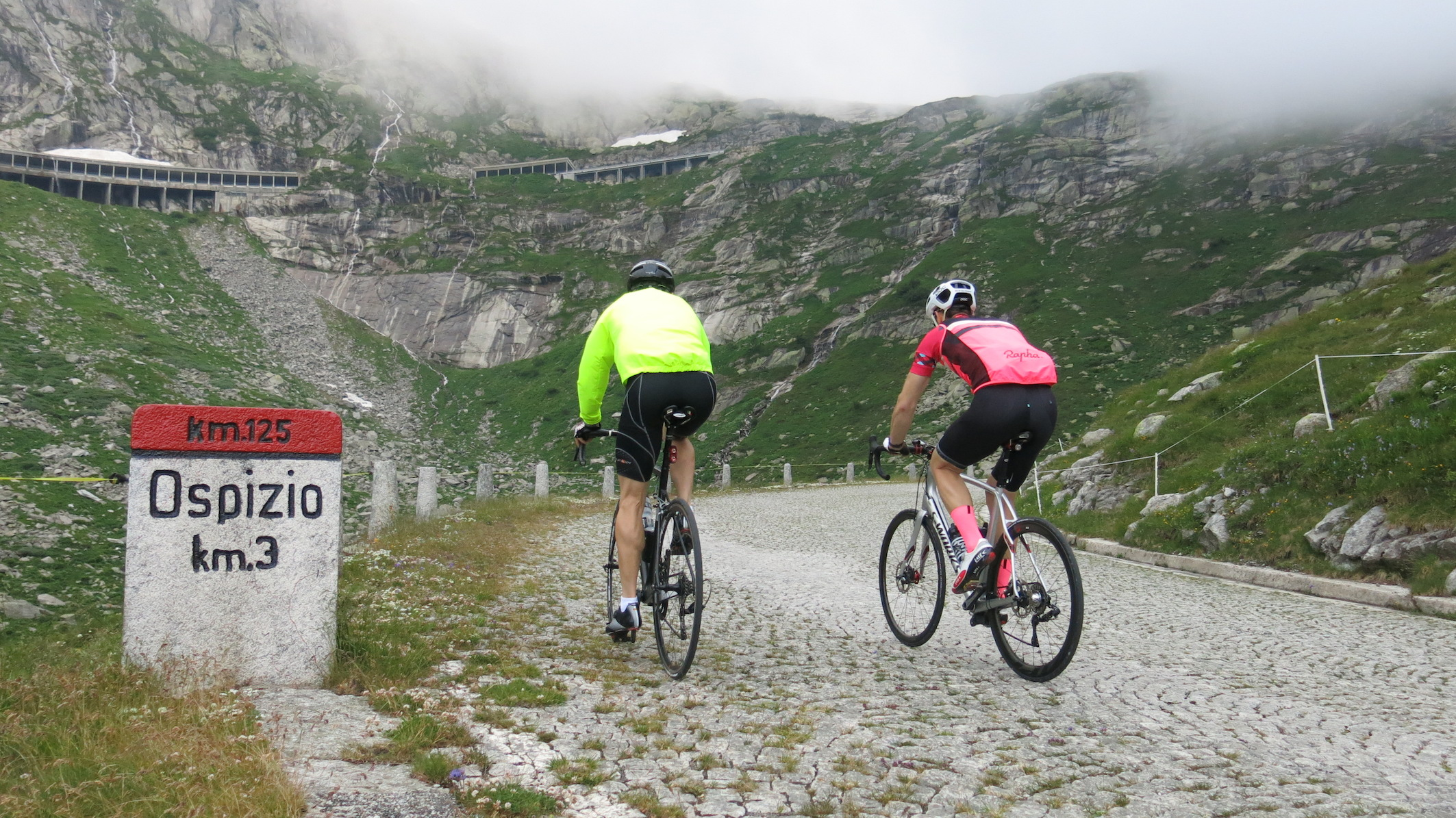 Tremolastrasse: every cyclist should climb this at least once in their life: Kev and SGL doing just that. Photo by Jimi Thomson.