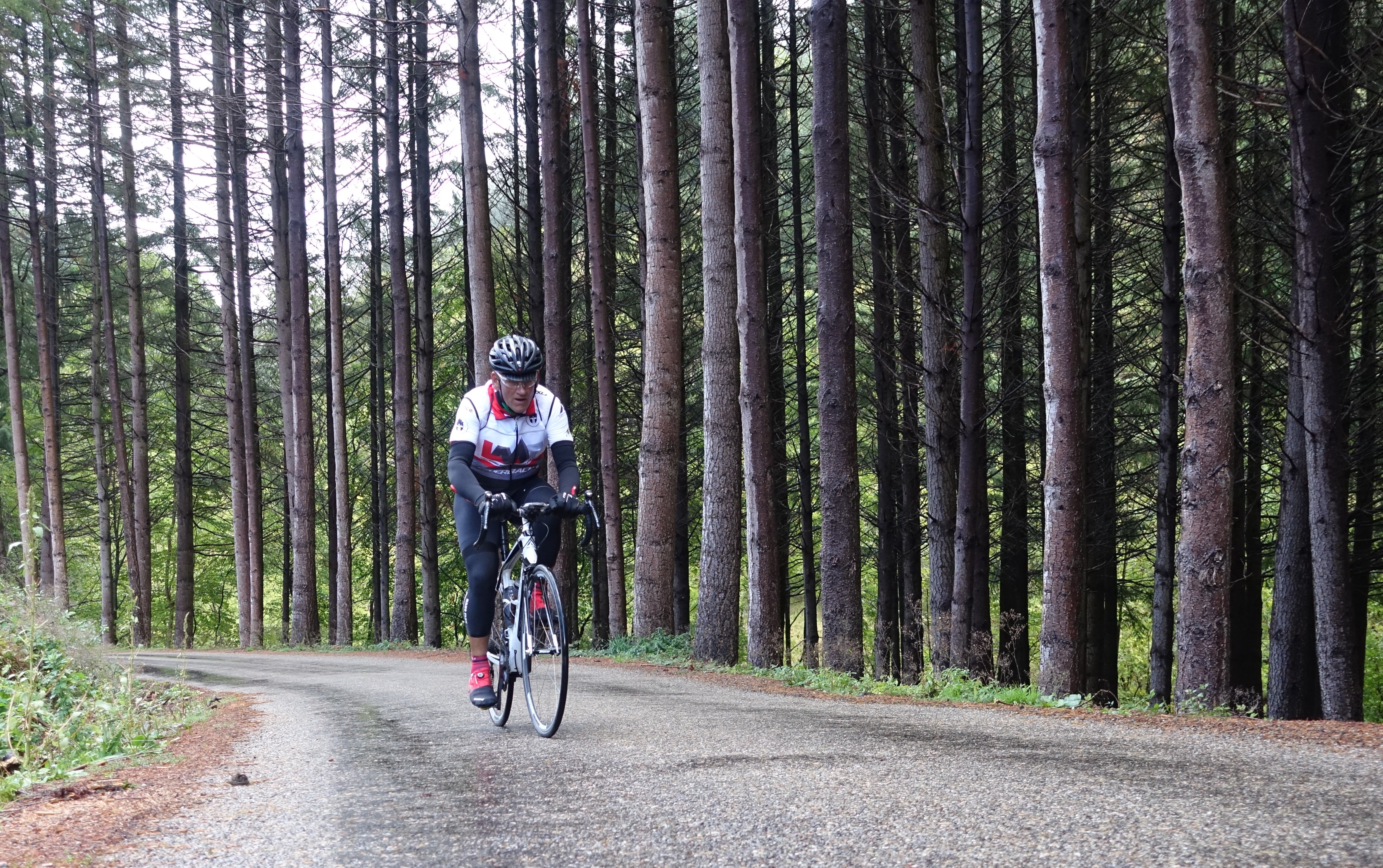 Soaking wet and only another 150km to ride: Allan Greenfield: the King of Pain.
