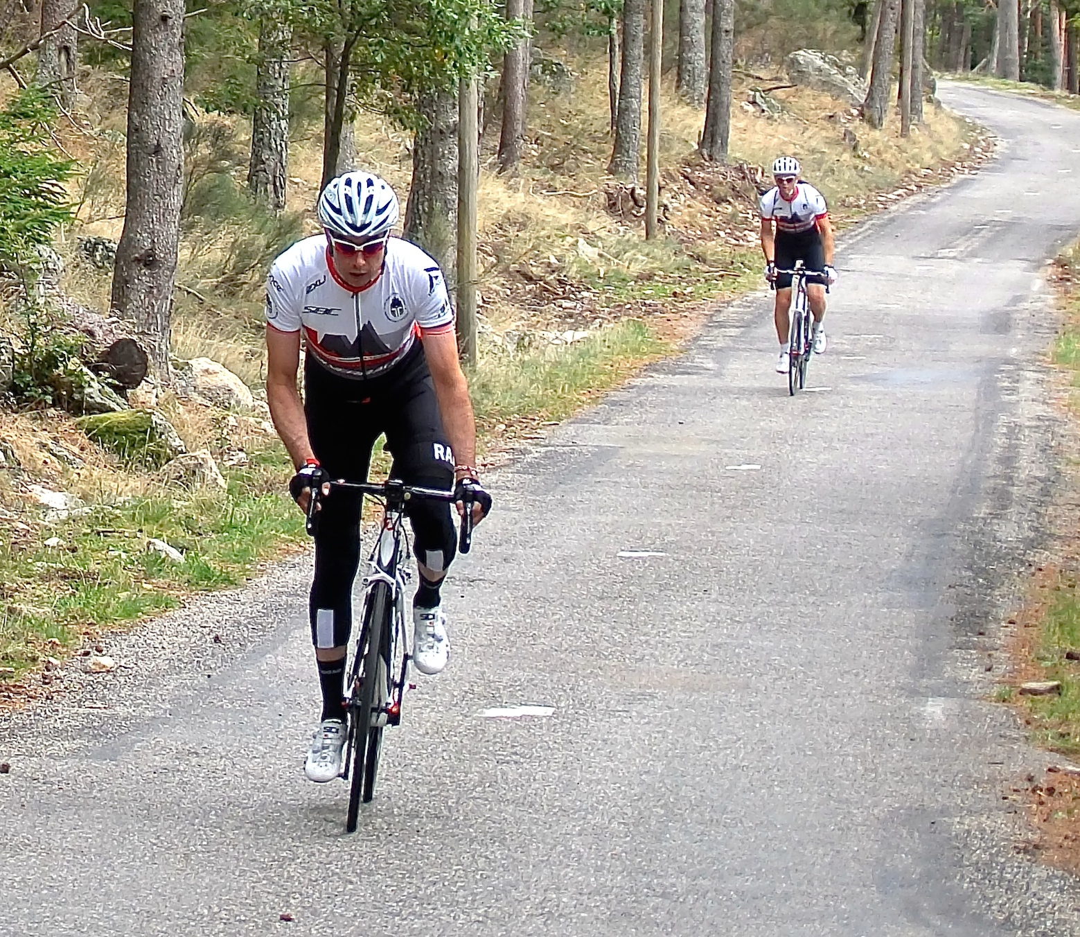 Phil Bond, followed by me, on the steepest section of Mont Aigoual. This was a tough afternoon for all.