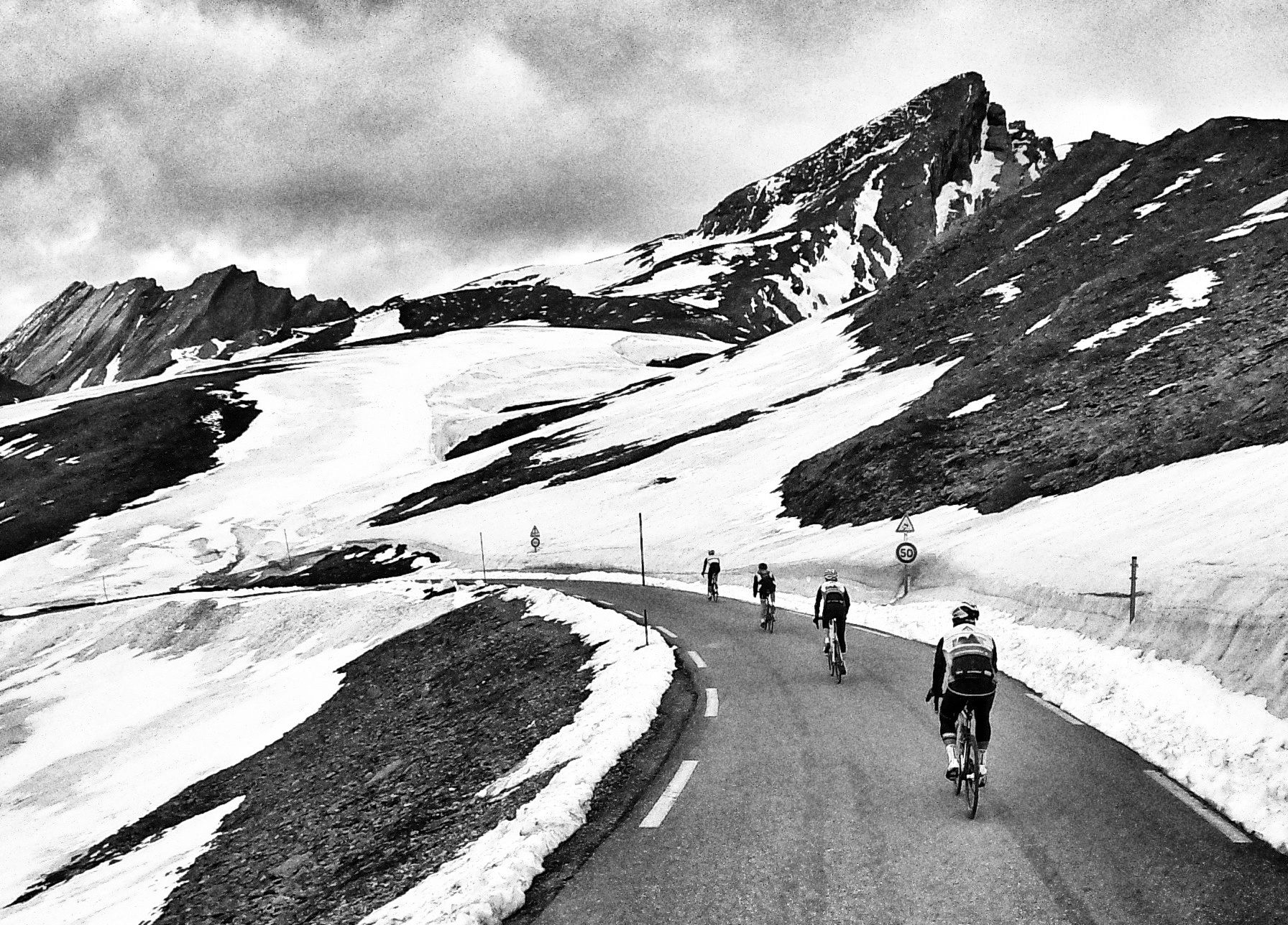 Heading down the Agnello: a Giro d'Italia was lost in one of those snow drifts, just a few days earlier!