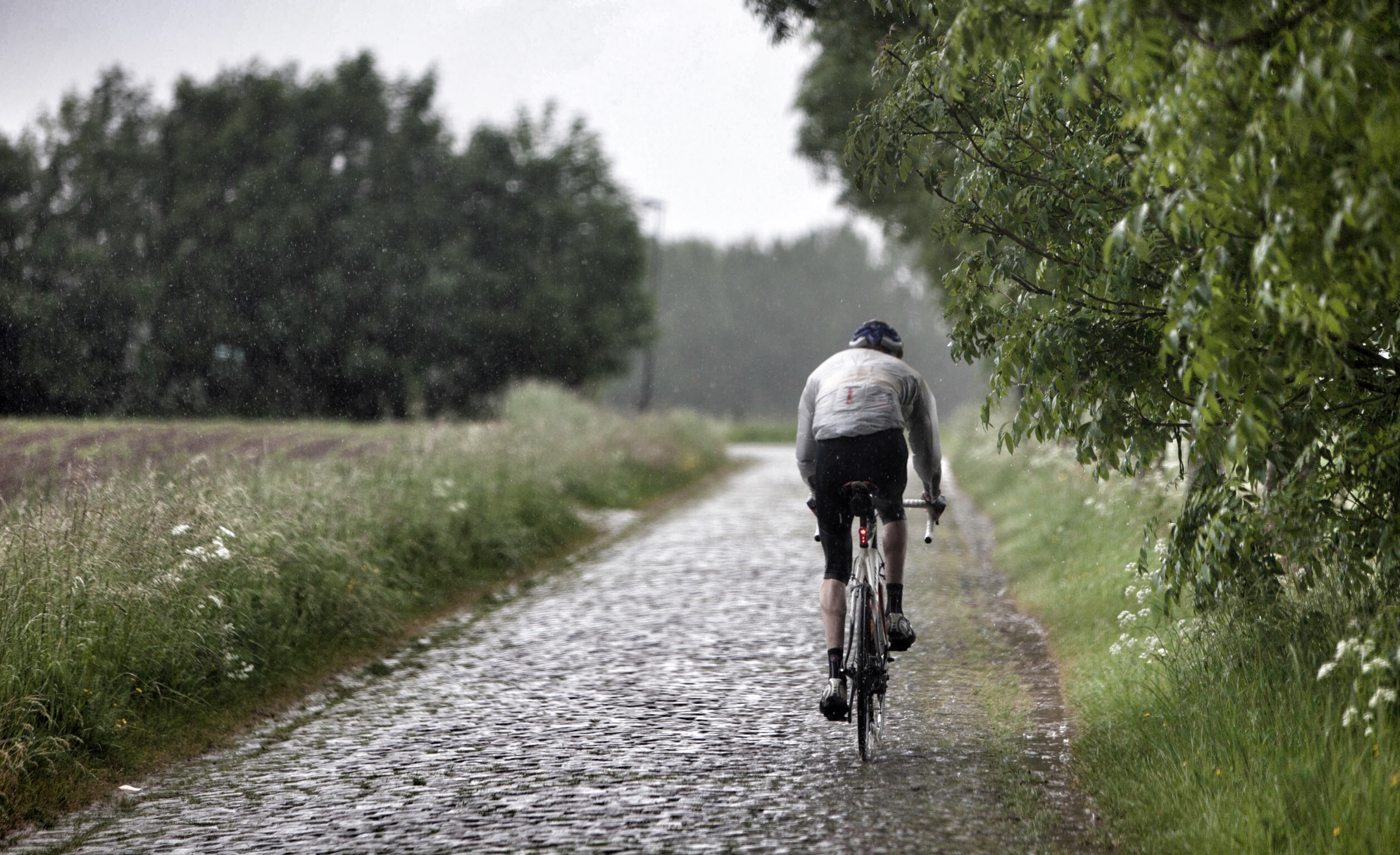 The first set of wet cobbles: Simon, learning a whole new aspect of cycling