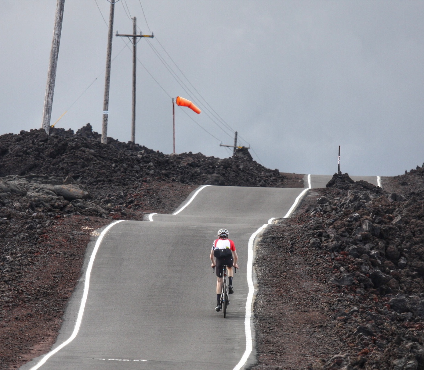Tom, still in the big ring and about 3.5 hours into the Mauna Loa climb.